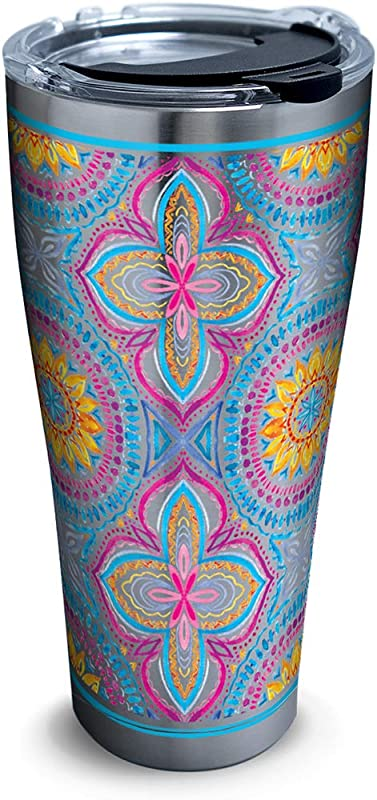 Tervis 1316322 Bright Mandala Stainless Steel Insulated Tumbler With Lid 30 Oz Silver