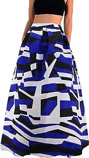 Women African Floral Print Pleated High Waist Maxi Skirt Casual A Line Skirt(Purple Geometric)