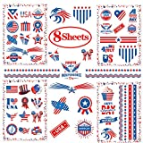 Fourth of July Tattoos 8 Sheets Independence Day Patriotic Party Accessories, including 4 Sheets...