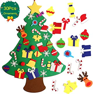 3AB 3.3Ft Felt Christmas Tree with 30Pcs Detachable Xmas Ornaments, Soft and Tasteless DIY Wall Hanging Xmas Tree for Kids Xmas Gifts Christmas Decorations