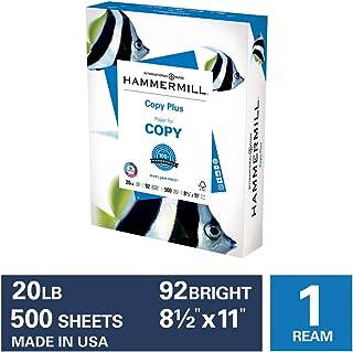 Hammermill Paper, Copy Plus Paper, 8.5 x 11 Paper, Letter Size, 20lb Paper, 92 Bright, 1 Ream / 500 Sheets (105007R) Acid ...