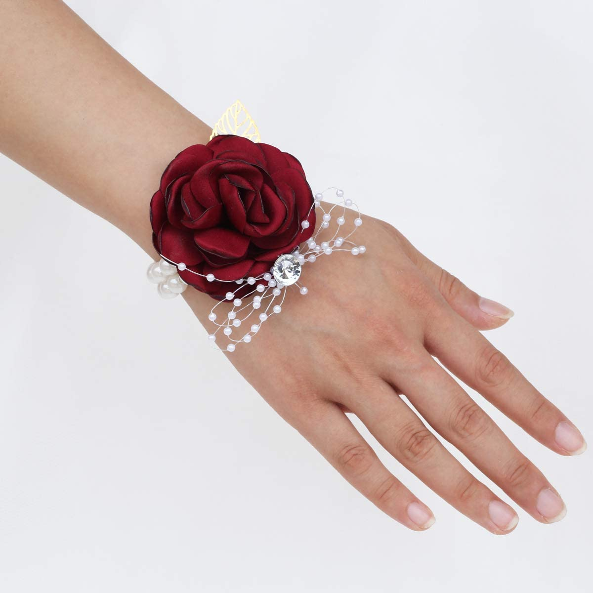 Desuness Wedding Bridal Wrist Corsage Men's Boutonniere Handmade Satin Rose Bridesmaid Wrist Flower Corsage Flower Bridegroom Boutonniere for Wedding Prim Party Homecoming (Burgundy, Wrist Corsage)
