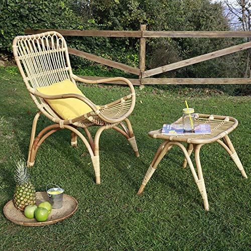 Ehlis Poltrona Haboo + poggiapiedi rattan naturale Poltrona: 63 x 74 x 98 cm h. Braccioli: 64 cm. Poggiapiedi: 56 x 50 x 43 cm.
