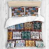 MANISENG Parure de lit,Vieille Voiture américaine Plaques d'immatriculation Automobile Rural Utah Brick Building Wall,1 Housse de Couette 220x240 + 2 Taies d'Oreillers