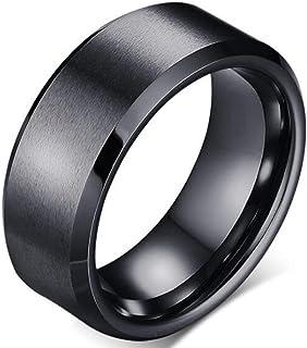 Men's matte black titanium stainless steel classic simple ring wedding ring (US size) (8.9.10.11) (Black, 11)