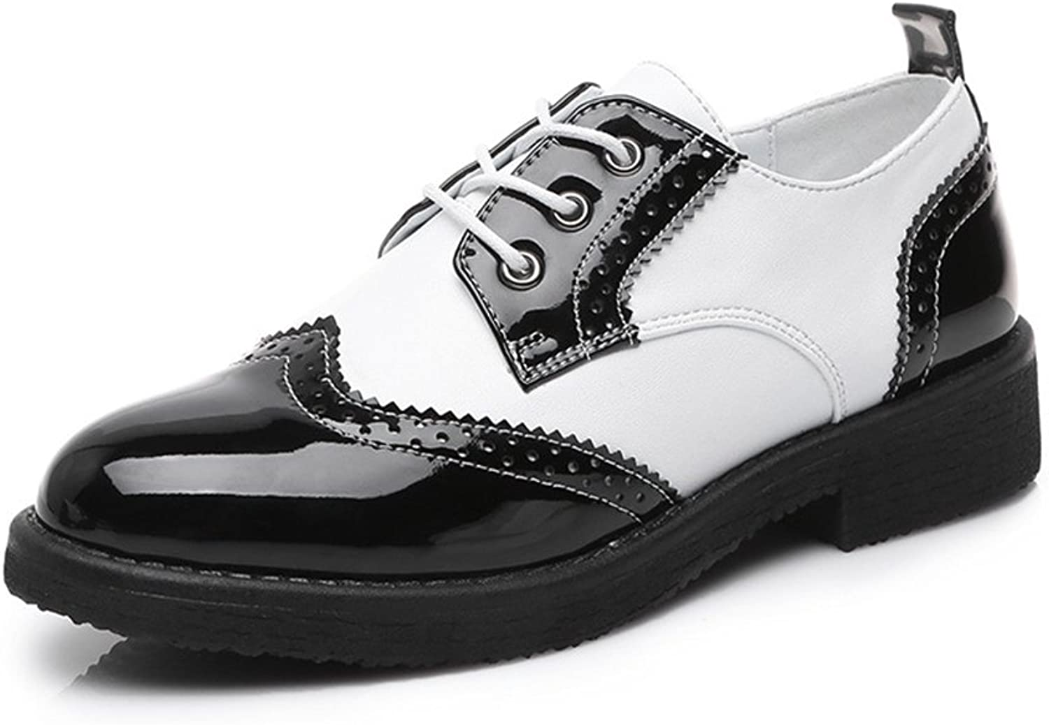 T-JULY Women's Modern Oxfords shoes - Perforated Wingtip Low Heel Two Tone Casual shoes