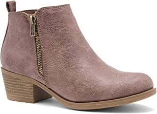 ELLAIRE Women's Western Ankle Bootie Closed Toe Casual Low Stacked Heel Boots
