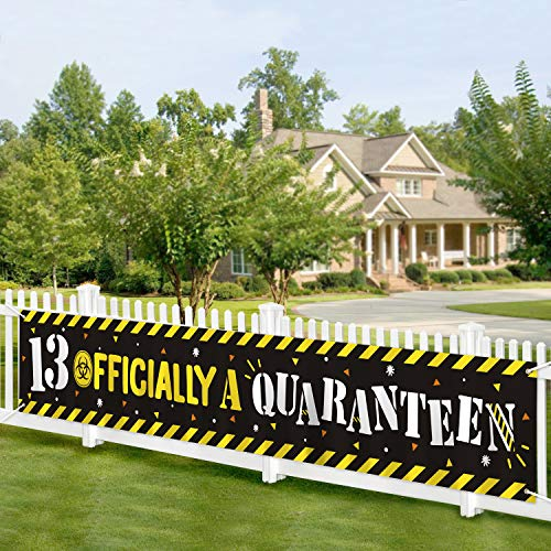 Officially A Quaranteen Banner Quarantine Birthday Banner 13th Birthday Official Teenager Sign Stay Home Decor Photo Props Background Indoor Outdoor Decoration Teen Birthday Party Supplies