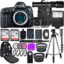 Canon EOS 5D Mark IV DSLR Camera with Canon EF 50mm f/1.8 STM Lens + Tamron 70-300mm f/4-5.6 AF Lens + 500mm Preset Telephoto Lens + Accessory Bundle