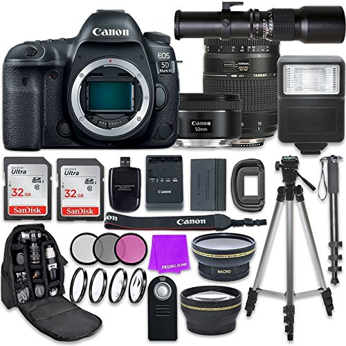 Affordable Canon EOS 5D Mark IV DSLR Camera with Canon EF 50mm f/1.8 STM Lens + Tamron 70-300mm f/4-...