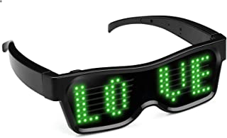LED Glasses,Bluetooth LED Light Up Glasses for Raves APP Connected Customized Flashing Messages Smart Glasses USB Recharge...