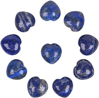 Natural Lapis Gemstone Healing Crystal 0.8 Inch Mini Puffy Heart Pocket Stone Iron Gift Box (Pack of 10)