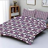 Juego de funda nórdica, cuadrados diagonales hexagonales, destacados digitales, artístico, moderno, decorativo, juego de cama de 3 piezas con 2 fundas de almohada, magenta, rosa pálido, azul noche, el