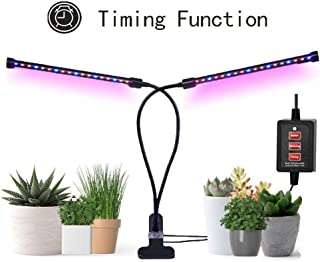 Grow Lights for Indoor Plants, 2019 Timing Function Dual Head Grow lamp 36 LED 3 working modes 5 Dimmable Levels Full spectrum for Indoor Plants with 360 Degree Adjustable Plant light.Hydroponics Greenhouse Gardening