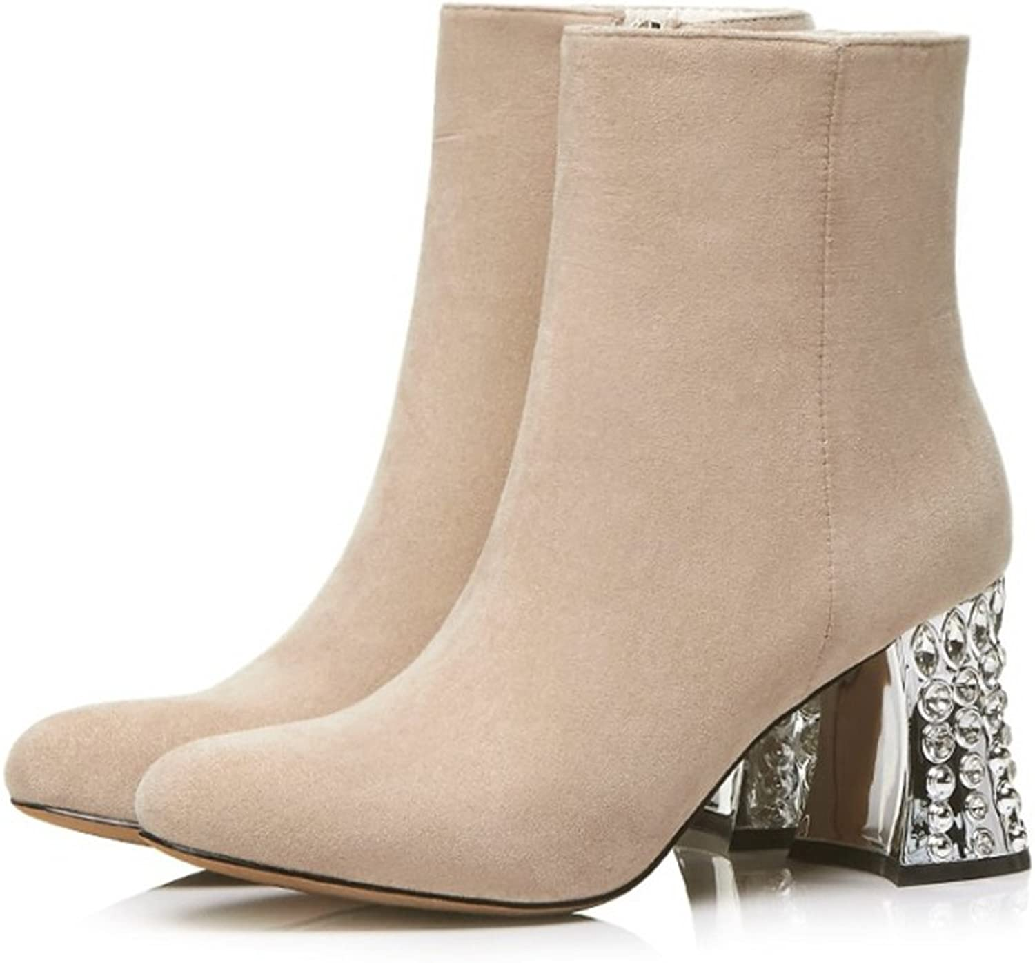 QZUnique Women Chunky Mid-Heel with Rhinestone Side Zipper Round Toe Ankle Booties Genuine Leather Boots