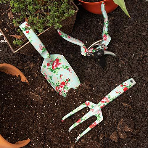 Garden Tools Set (4 pcs) - Garden Shears, Trowel, Hand Cultivator - Floral Gardening Tools for Women - Gardening Supplies Gardening Kit - Great Gardening Set for Outdoor and Indoor Gardening