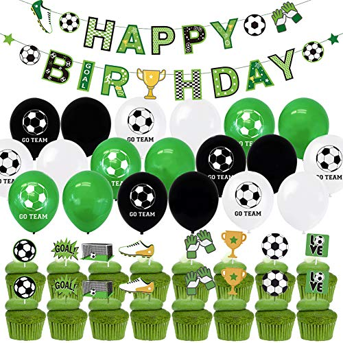 BETOY Football Party Supplies 43PCS Soccer Birthday Decorations Party Supplies Cake Topper Happy Birthday Banner Balloons for Children Boys Football Fans Birthday Theme Party Supplies