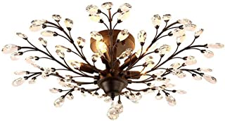Ganeed Crystal Ceiling Light,Vintage Chandelier, Modern Elegant K9 Crystal Glass Chandelier Flush Mount Ceiling Lighting Fixture for Living Room Bedroom Restaurant Porch- Matte Black - 5 Lights