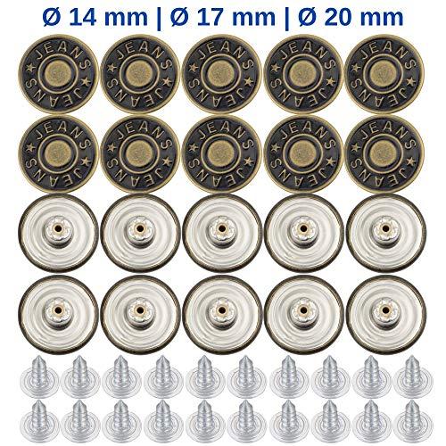 Hosen Ersatz Knöpfe, ersetzen 19 - 21 mm Knöpfe, 20 Pack, 20 mm Durchmesser, Knöpfe für Jeans mit Nieten, Jeans Knopf zum Einschlagen, Metall Hosenknopf, zur Reparatur von Jeans, Hose, DIY, näh-frei