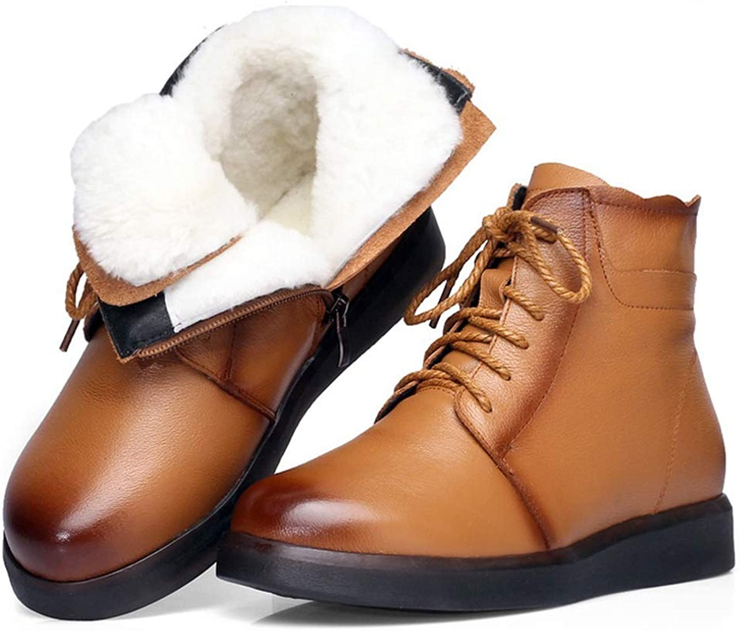 BMTH Women Lace Up Snow Boots Round Toe Warm Fur Lined Ankle Boots Cow Leather Flats Winter Ankle Boots