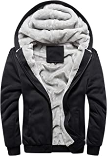 Springrain Men's Winter Sherpa Lined Zipper Fleece Hoodie Sweatshirt Jacket