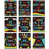 9 Decoraciones de Aula en Español Póster de Motivación en Español de Aula Arte de Pared Inspirador Cartel de Inspiración Adorno de Pared con Cita Motivacional para Estudiante (Color Negro)