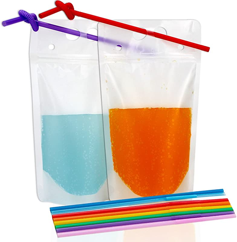 Tomnk 50pcs Clear Drink Pouches Bags Smoothie Bags Reclosable Zipper Heavy Duty Hand Held Translucent Stand Up Plastic Pouches Bags Drinking Bags 2 4 Inches Bottom Gusset With 50pcs Straws