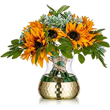 Amazon Com Decorative Glass Flower Vase With Golden Honeycomb Rustic Floral Vases Arrangements Artificial For Weddings Home Decor Or Office 1 Kitchen Dining