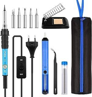 comprar comparacion Soldadores de Estaño, WOWGO 60W 12 IN 1 Kit de Soldador Electronica de temperatura ajustable Interruptor con 5 Puntas, Sop...