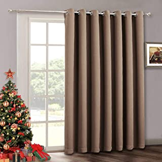 RYB HOME Patio Sliding Door Curtain Panel - Blackout Verical Blinds Living Room Window Curtains, Light Block Thermal Drape for Dining Farmhouse Cabin Room Divider, Wide 100 x Long 84, Cappuccino