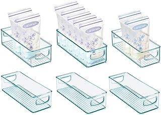 mDesign Baby Food Kitchen Refrigerator Cabinet or Pantry Storage Organizer Bin with Handles - for Breast Milk, Pouches, Ja...