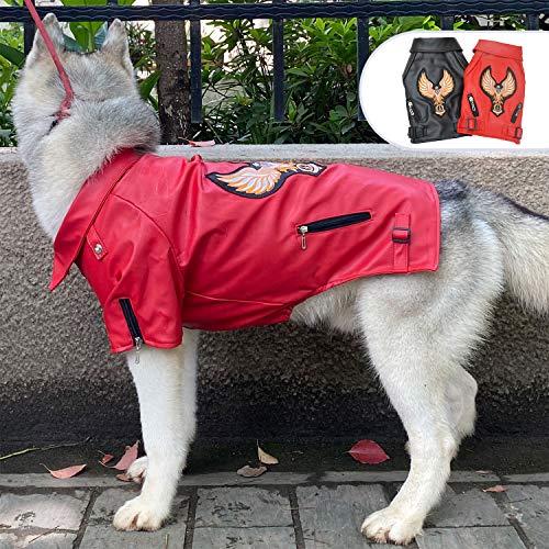 Lovelonglong Hundejacke aus Leder, warm, winddicht, für große, mittelgroße und kleine Hunde, schwarz, braun, rot, L-L (Large Dog ~75 Lbs), Rot-Adler