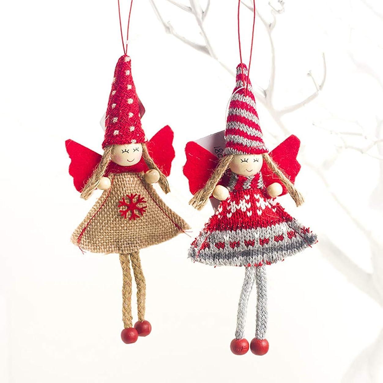 チップ芸術信じられないwulide クリスマス飾り ミニ人形 可愛い ストライプ 帽子付き 小さい女の子 吊り下げ装飾 人形おもちゃ アクセサリー 撮影道具 子供の日 誕生日 クリスマス プレゼント 2PCS