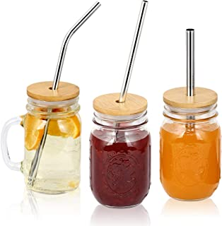 AIEVE Bamboo Mason Jar Lids, 3 pack Reusable Mason Jar Lids with Straw Hole, Plus 3 PCS Stainless Steel Straw and One Straw Brush Compatible with Regular Mouth Mason Jar Canning Jar for Drinking