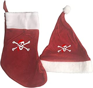 Qeely Sombrero Calcetines Decoraciones Adornos/Set de Bolsas Pirate Skull Unique Fashion Christmas Stocking and Christmas Hat Home Decoration Gifts