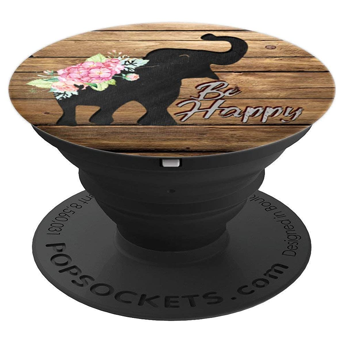 Optimistic Elephant Pop socket Wooden Floral Wood Grain Gift - PopSockets Grip and Stand for Phones and Tablets