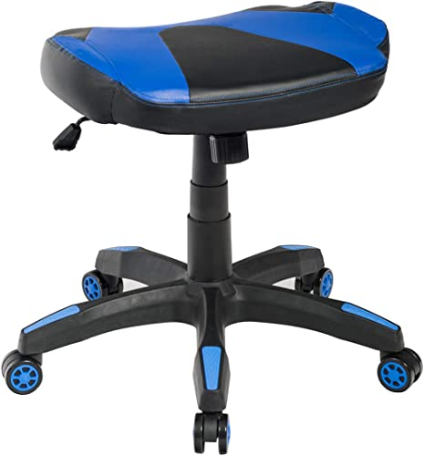 2021 Giantex wholesale Multi-Use Gaming Footstool, Height Adjustable Faux Leather lowest Spare Chair, 360° Swivel Rolling Stool Perfect for Gaming Chair, High Back Office Chair, Ergonomic Racing Chair (Blue) outlet sale