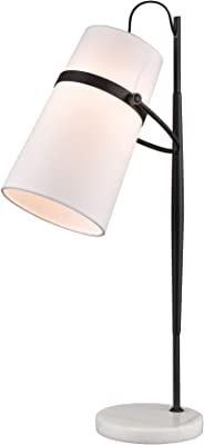"""Elk Lighting D4191 Banded Shade Desk Lamp in Antique Brass and White Marble, Matte Black,16""""W x 7""""D x 28""""H"""