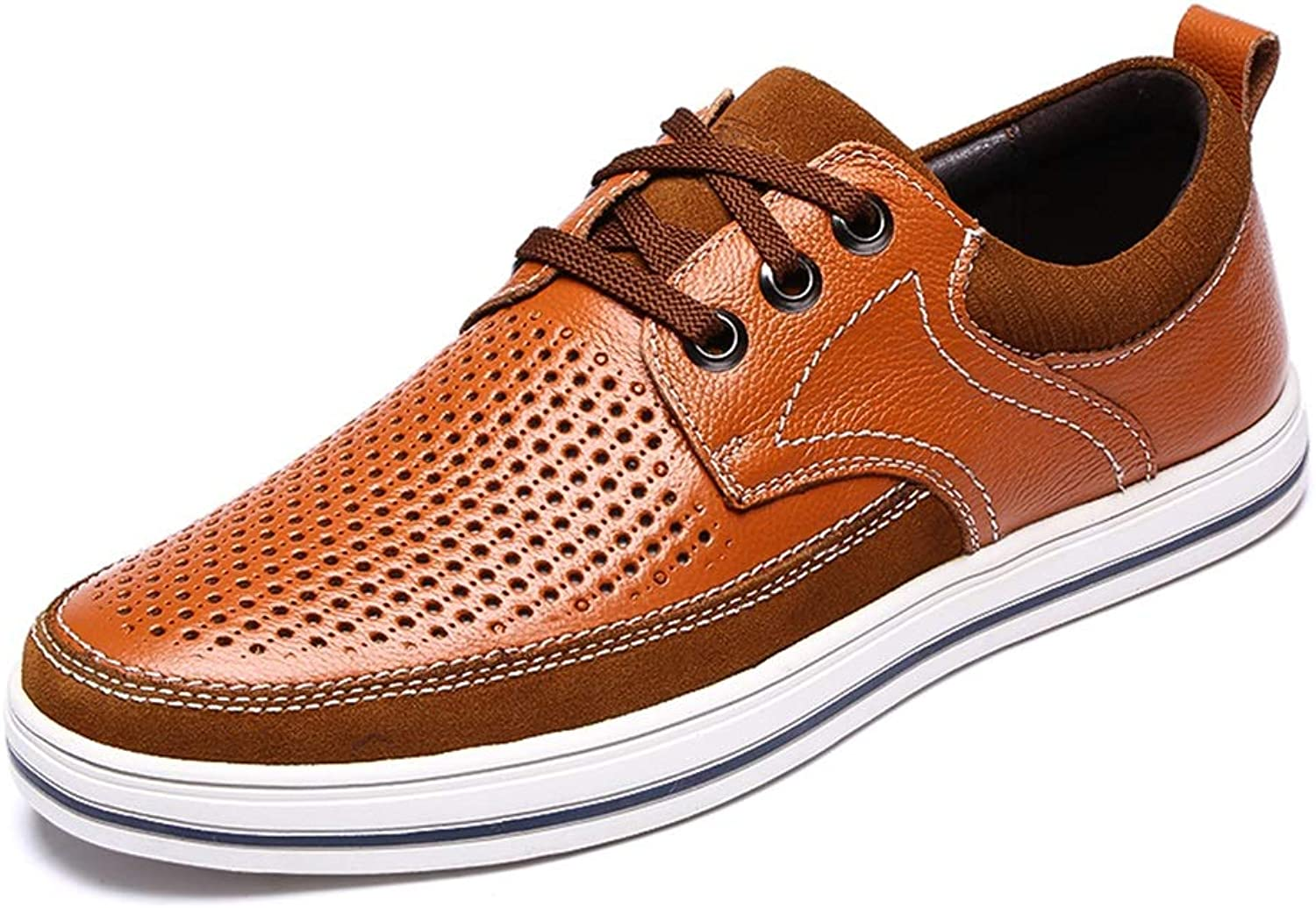 LXLA- Men's Hollow Casual Lace Up Leather shoes, Mens Comfortable Breathable Loafers for Men (color   Light Brown, Size   38)
