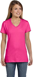Hanes Ladies Nano-TCotton V-Neck T-Shirt, Large, Wow Pink