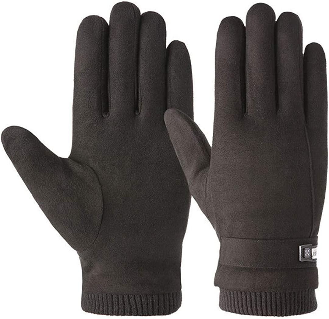 Winter Men Sports Plush Thick Warm Cycling Riding Mittens Elastic Suede Leather Touch Screen Driving Gloves A Black