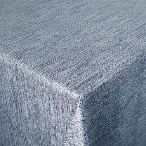 Wachstuch Robuste Leinen Prägung Pro Blau Breite & Länge wählbar - Größe ECKIG 90 x 80 bzw. 80x90 cm abwaschbare Tischdecke Gartentischdecke