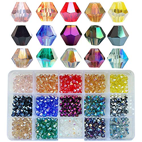 Chengmu 6mm Bicone Glass Beads for Jewelry Making 750pcs AB Colour Faceted Shape Colourful Crystal Spacer Beads Assortments Supplies Accessories Tools for Bracelets Necklaces with Elastic Cord