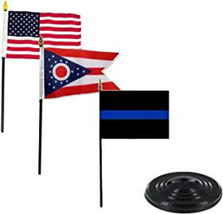 ALBATROS USA Thin Blue Line Ohio State 3 Flags 4 inch x 6 inch Desk Set Table Stick with Black Base for Home and Parades, Official Party, All Weather Indoors Outdoors