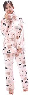 NISHIKI[ニシキ] パジャマ レディース ルームウェア 長袖 もこもこ ネコ柄 チェック柄 上下セット 前開き 2wayネック 冬 マイクロファイバー 保温 あったかい 部屋着 かわいい ふわもこ