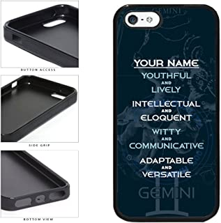 BleuReign(TM) Personalized Zodiac Sign Custom Name Gemini May22-Jun21 TPU RUBBER SILICONE Phone Case Back Cover For Apple iPhone 5 5s and iPhone SE