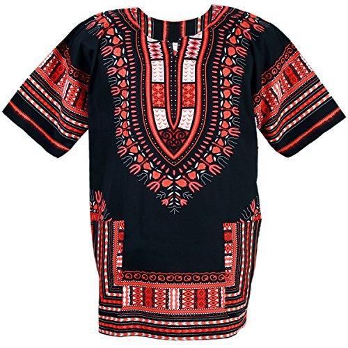 CHAINUPON African Dashiki Baumwollhemd Unisex Tribal Festival Boho Hippie Kaftan (XX-Large, Black Red)