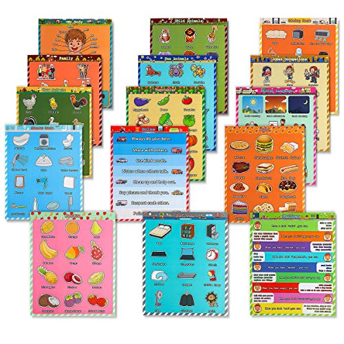 17' x 14' Educational Posters for Preschoolers,15Pcs Educational Posters for Kindergarten,Kindergarten Posters Home and Kindergarten Laminated Decoration Poster, Animal, Food, Furniture and etc