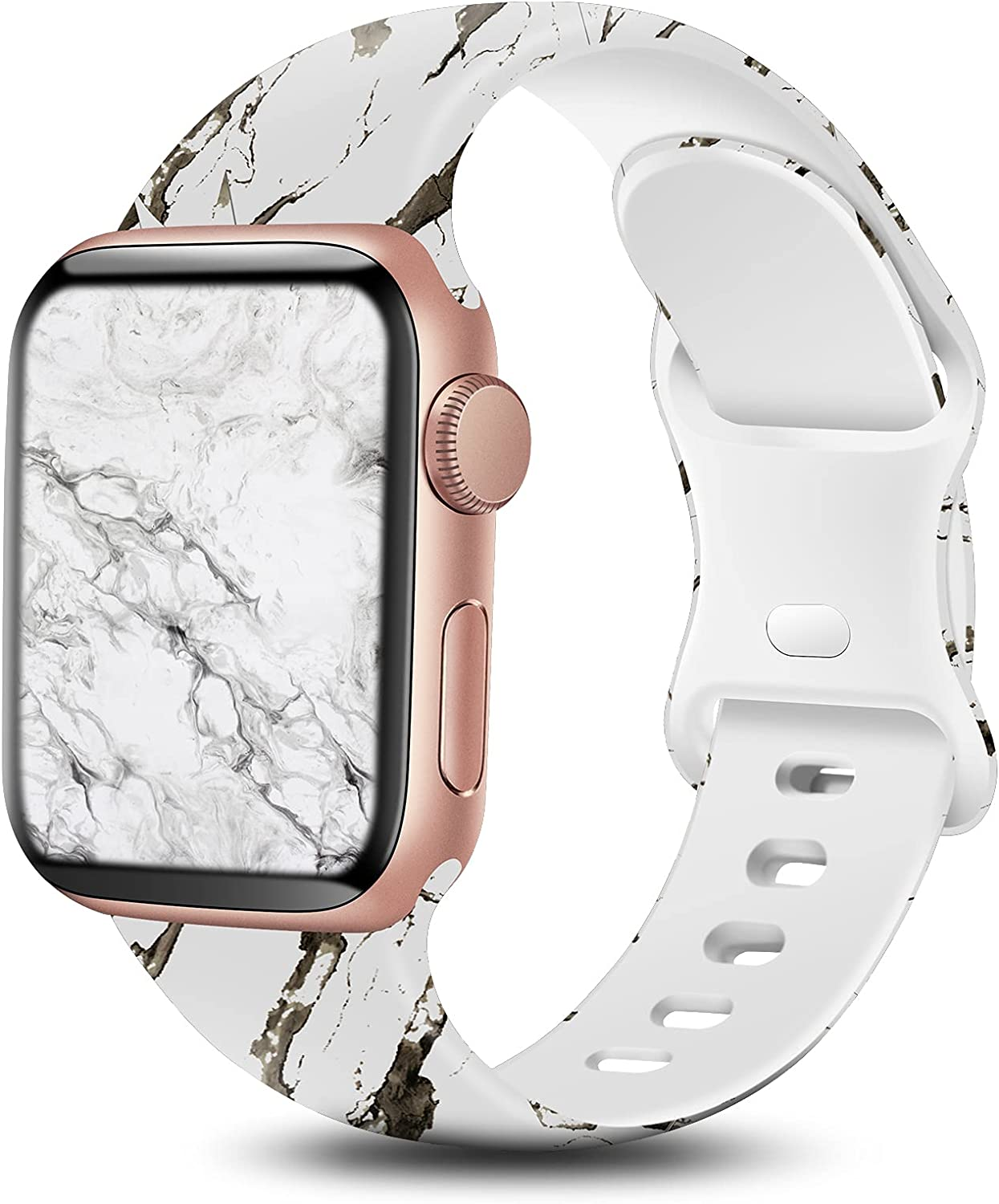 BYH Compatible with Apple Watch Band 38mm 40mm 42mm 44mm for Women Men Cute Fadeless Floral Smartwatch Bands Soft Silicone Sport Strap Wristband for iWatch Series 6 5 4 3 2 1 SE Multi Printing Pattern