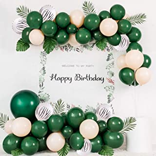 Jungle Safari Theme Party Decorations:104Pcs Green Balloon Garland Arch Kit With Artificial Tropical Palm Leaves And Animal Print Latex Balloons for Kids Boys Girls Birthday Party Baby Shower Decor